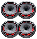 (4) Hifonics TPS-CX80 8' 300 Watt Marine/Boat LED Speaker with Compression Horns