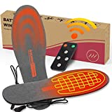 REIFUT Remote Control Electric Heated Insoles with Rechargeable Li-ion Batteries Men & Women Foot Warmers for Skiing Cycling Hiking