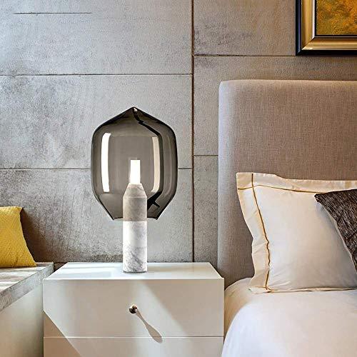 UWY Lámpara Decorativa nórdica posmoderna con Base de mármol, Sala de Estar, sofá, Dormitorio, mesita de Noche, lámpara de Mesa de Estudio, 37 * 69 cm (Color: Blanco)