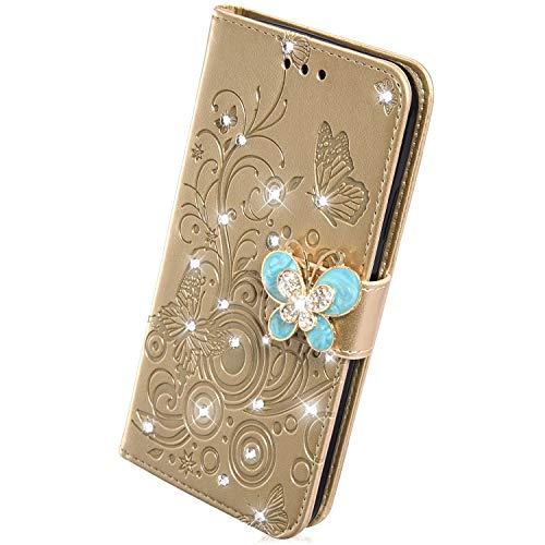 Herbests Kompatibel mit Huawei P30 Handyhülle Leder Hülle Schmetterling Blumen Bunt Luxus Glitzer Strass Diamant Schutzhülle Flip Cover Klapphülle Tasche Kartenfächer Magnet,Gold