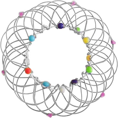3D Meditation Toy Magic Mandala Flower Basket Toy Magic Loops Fidget Anxiety Toys Soft Wire Basket Shape Changable Toys Funny Stress Relief Fidget Rings Sphere Magic Beads Basics Toys-F