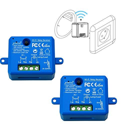 LoraTap Interruttore WiFi Alexa, Interruttore Intelligente Telecomando Senza Fili con Telefono App Android iOS, Controllo Vocale con Alexa Echo, Google Home, IFTTT, 2pz Ricevitori a Relè 2500W