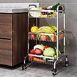 Porta cestas con Ruedas de 3 Niveles Carro Carro de Metal con asa y Ruedas balda multifunción de Gran Capacidad para Cocina y baño