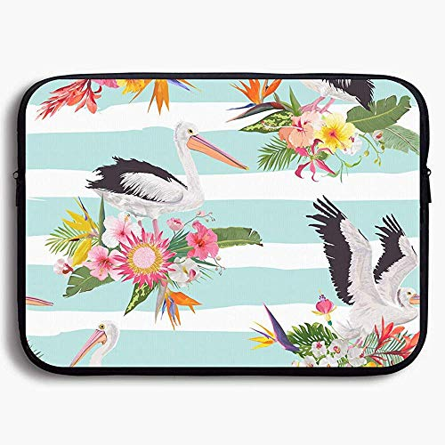 15 Inch laptop Case Sleeve Case Bag, Tropical Nature with Pelicans for Portable Carrying Protective Cover