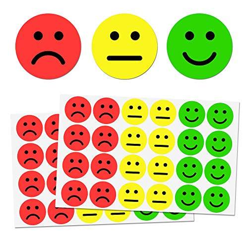 1' Happy/Sad Smiling Face Stickers - 3 Colors (Red/Yellow/Green), Pack of 1200