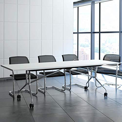 WeberBÜRO Falttisch Klapptisch 2.400 x 1.000 mm Libro Weiß Konferenztisch klappbar rollbar auf Rollen mobil