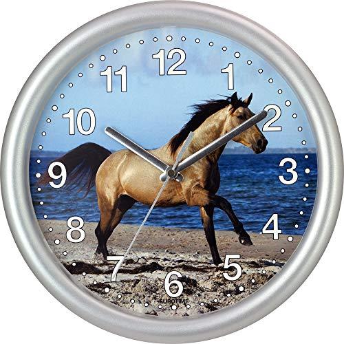EUROTIME Quarzwanduhr, 25 cm, Kunststoffgehäuse silber, Kunststoffglas, klares 12-Zahlen Zifferblatt mit Pferdemotiv, geräuscharmes Uhrwerk, kein Ticken, Wanduhr für Kinderzimmer, 80021