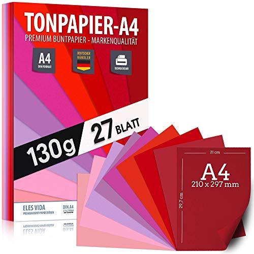 27 Stück Purpur TONZEICHENpapier A4 - 130g stark – Magenta Blätter – Bastel Bogen - Blau, Lila, Pink, Rot Violett Zeichenpapier , Pappe zum Basteln, Zeichenkarton - DIY Kreativ Zubehör für Kreatives