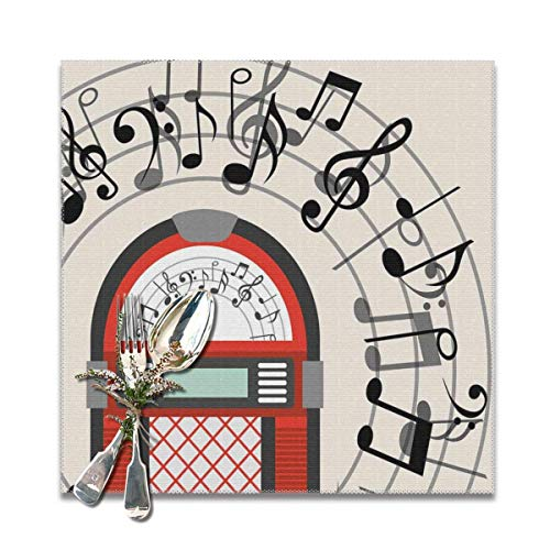Strawberryran Table Mat Jukebox Cartoon Antique Old Vintage Radio Music Box Party con Notas Artwork Black 12 X 18 in Set of 4