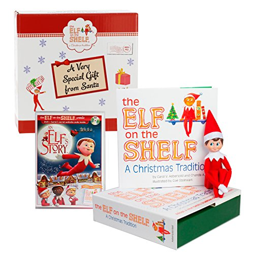 Elf on The Shelf Blue Eyed Boy with Bonus an Elf Story DVD - Direct from North Pole in Limited Edition Official Gift Box