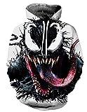 Sudadera Venom Niño Hombres Sudaderas sin Capucha 3D Unisex Impresión de Imitación Sudadera de Manga Larga Suéter Fresco Fans de Juego Streetwear Sudaderas de Moda Camiseta (GK025, M)