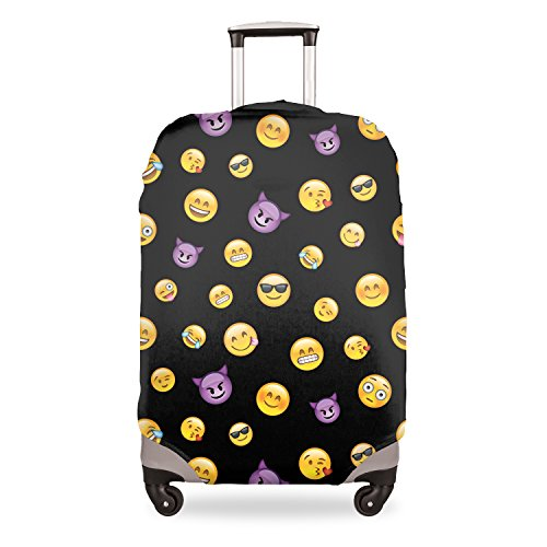 FRINGOO Luggage Suitcase Cover Baggage Protector Spandex Stretchable Elastic Anti Scratches Dust Travel Bag Case Funny Cute 18'' - 28'' (Large 26'' - 28'', Emoji Black Evil)