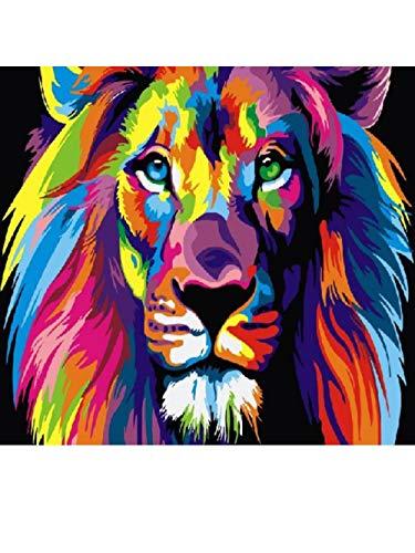hetingyue DIY Malen nach ZahlenHandmalereiFarbe einfach Löwe Rahmenlos 40x50cm