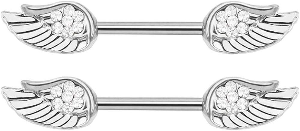 Pair of Nipple Rings Clear cz Angel Wings Body Jewelry Piercing bar Barbell Shield Ring- 14 Gauge 14g