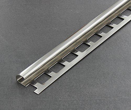 Fliesenschiene, Fliesenprofil, Rundkantenprofil, Edelstahl (V2A) glänzend, Länge 2,50 m 10 mm Höhe 1 Stück