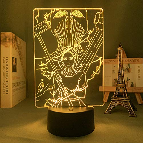 ZMSY - Lámpara de noche 3D con diseño de anime sobre titanio, diseño de martillo de guerra de titanio para dormitorio, decoración de cumpleaños, manga, ataque a titanio