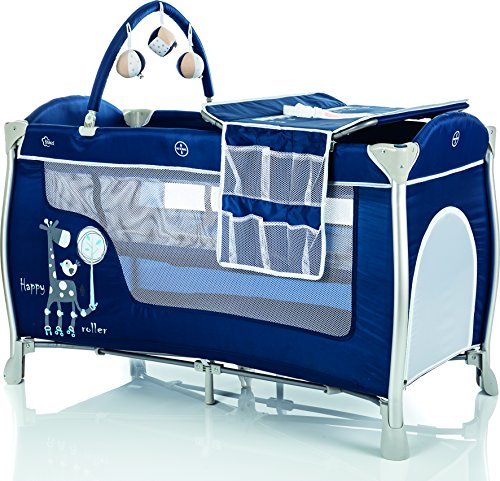 Fillikid Alu-Reisebett Supreme 120x60 cm & Matratze/kompaktes Laufstall mit Transporttasche/Babyreisebett inklusive Einhang, Spielbogen, Wickelauflage, Räder, Einstieg, Design:marine