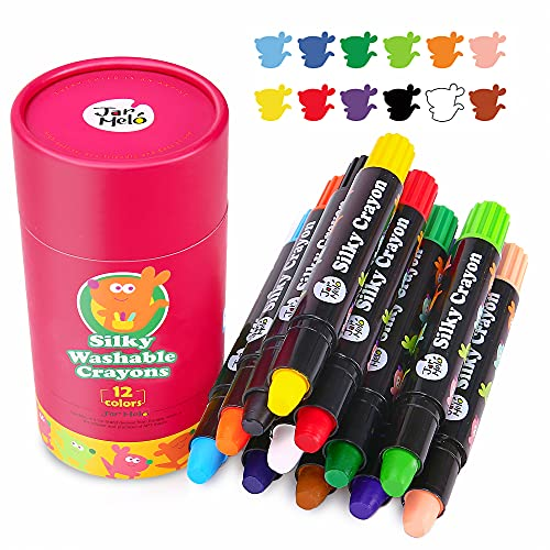 Jar Melo Washable Kids Crayons -12 Count ;Non Toxic; Gel Window Crayons for Toddler,Baby crayons,Silky Crayon for Kids,Art Tools
