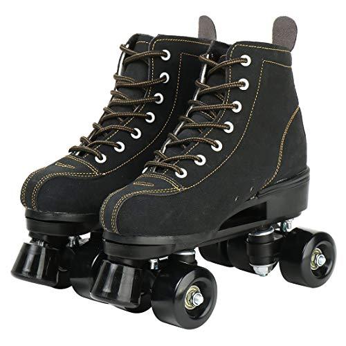 YYW Rollschuhe für Damen, High Top, Wildleder, glänzend, leuchtend, vier Räder, doppelreihig, Rollschuhe für Herren mit einer Schuhtasche, Unisex, schwarz, 41