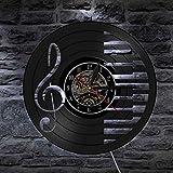 NIGU Reloj vintage Notas musicales Reloj de pared Elegante Blanco y Negro Piano Claves Decoración de pared Luz Agudos Clave Símbolos Musical Inicio Arte Decoración records