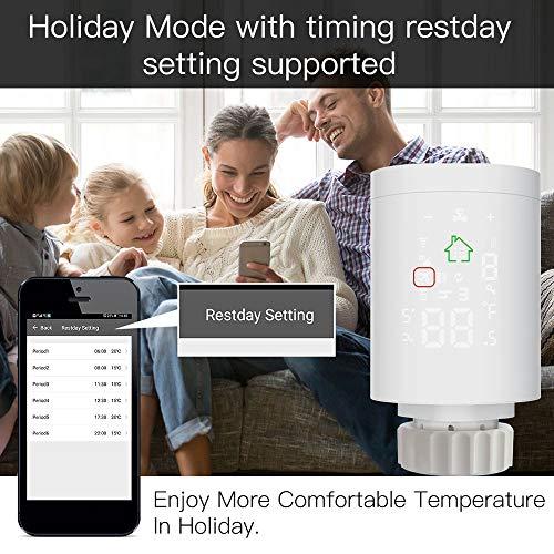 KKmoon® - Rubinetto termostatico per radiatore, Tuya ZigBee3.0, valvola termostatica intelligente, valvola termostatica programmabile, regolatore di temperatura, controllo vocale tramite Alexa