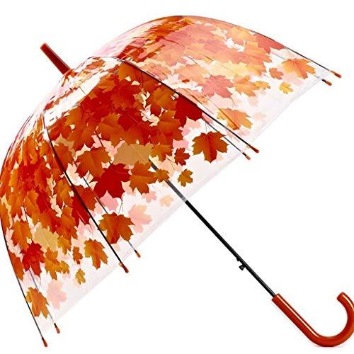 TIANYIP PVC Kunststoff Regenschirm Transparent Langen Griff 8 Knochen Geraden Regenschirm Schirm Kunst Kleine Frische Requisiten Tanz Regenschirm (Color : Red)