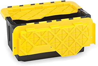 Homz 15 Gallon Tough Flip Lid Plastic Storage Container, Set of 6, Black and Yellow
