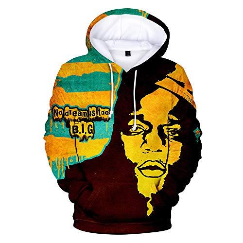 MIPINPAI Herren Kapuzensweatshirt Biggie 3D lustig Bedruckt Pullover Hoodies Kapuzenpullover, Taschen Drawstring Gr. Medium, Anime