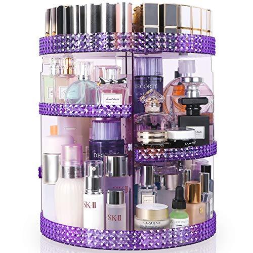 HEMTROY Rotating Makeup Organizer 360 Degree, 7 Layers Adjustable Storage For Cosmetics,Perfume,Plus Size, Large Capacity Cosmetic Storage Organizer Best for Bathroom,Countertop and Vanity, Purple
