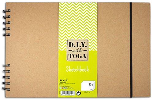 D.I.Y with Toga SU67 Sketchbook à Spirales Papier Kraft 30 x 20 x 2 cm
