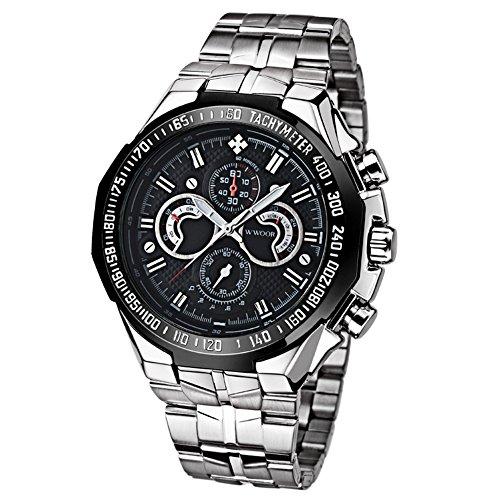 WWOOR orologio sportivo per la Mens non-meccanico orologi di moda impermeabile luminoso da polso (nero)
