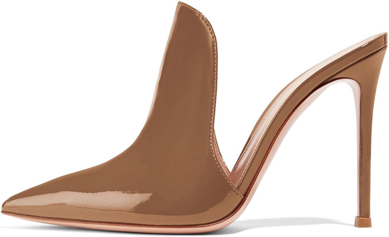 FSJ Women Glossy Mule Sandals Slide Slippers Stiletto High Heels Slip On shoes Size 4-15 US