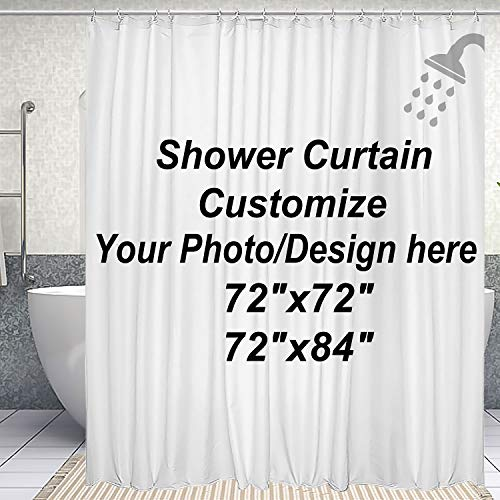 DJSBZ Custom Shower Curtain with Hooks Waterproof, Upload Your own Image/Photo Bathroom Washroom Hotel Decor Personalized Customize Design Wedding Family Picture 72x84 inch