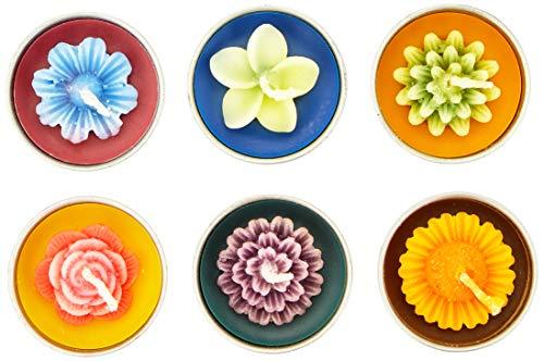 VIE Naturals Bali Hand Sculpted Flower Shapes Tealights-Set of 6, Multicoloured, 15cm
