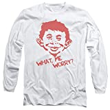 Mad Magazine Media Satire Humor Funny What Me Worry Adult Long Sleeve T-Shirt White