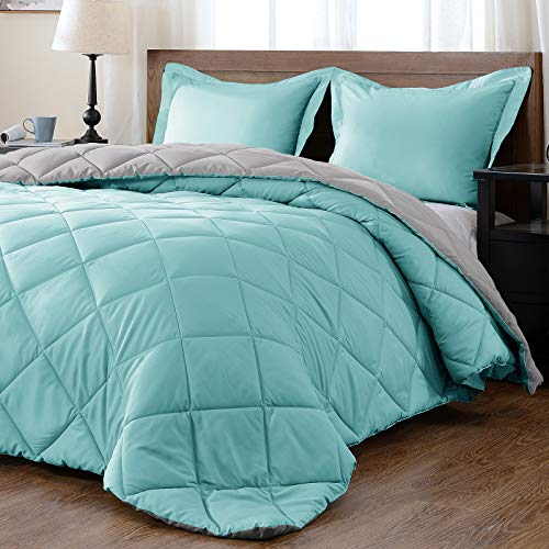 downluxe Lightweight Solid Comforter Set (King) with 2 Pillow Shams - 3-Piece Set - Turquoise and Gray - Down Alternative Reversible Comforter