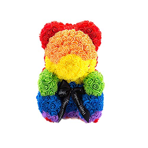 E-zoe Rose Teddy Bear,10 inch Artificial Rose Love Romantic for Christmas, Graduation, Valentine's Day, Mother's Day, Anniversary, Birthday, Wedding Gift (Rainbow)