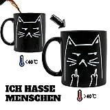 Onebttl Katzen Tasse Lustige Tasse mit sprüchen 'ICH Hasse Menschen' Zaubertasse Kaffeebecher...