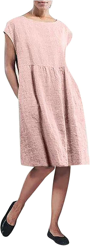 Women's Solid Sleeveless Crew Neck Maxi Pockets Casual Dress Linen Loose Baggy Kaftan Knee Length Dress