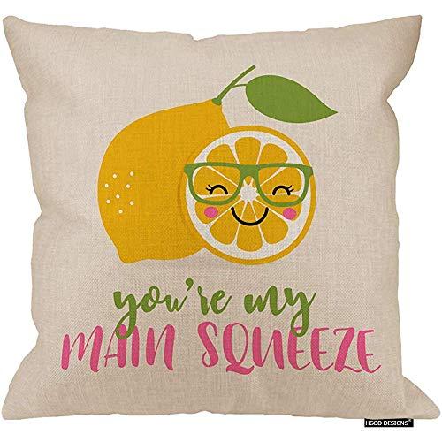 Ducan Lincoln Funda de cojín 2pcs 18X18Inch-Lemon, Cute Cartoon Lemon with You 're My Main Squeeze Quotes Funda de Almohada Decorativa Cuadrada de Lino de algodón