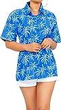 LA LEELA Playa de la Camisa Hawaiana clásica de Vacaciones Aloha Trabajo de Oficina de Vacaciones de Verano Mujeres L-ES Tamaño- 46-48 Azul_AA141