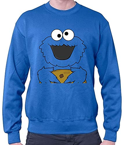 HARIZ Herren Pullover Keks Monster Karneval Kostüm Plus Geschenkkarten Royal Blau M