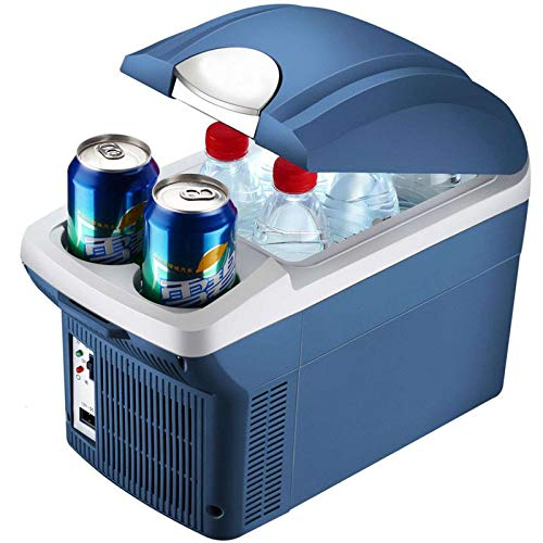 Cold refrigerator mini fridge,8L On-board dormitory office family drink suitable for portable cold storage and heating mini fridge-blue