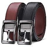 BESTKEE Cinturón Hombre Cuero Reversible Negro y Marrón con Hebilla Pulida Giratoria