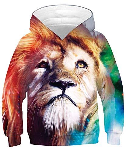 Goodstoworld 3D Lion Druck Hoodie Jumper Mädchen Jungs Kapuzenpullover Langarm Sweatshirt 140 Pullover Bunte Kapuzenpullis Freizeitkleidung Bunte Löwe L