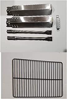 Outdoor Bazaar Set of Porcelain Steel Cooking Grids, Two Stainless Steel Replacement Heat Plates and Burners and One Cross...