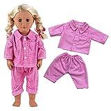 Miunana Schlafanzug Puppenkleidung Kleid Hemd Hose für 45-46cm Puppen 18 Inch Zoll American Girl Dolls Stehpuppe