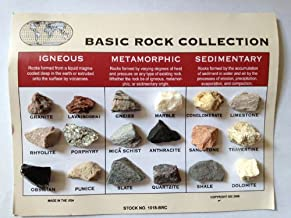 Rock Collection and ID Chart - 18 Rocks - Igneous, Metamorphic, Sedimentary