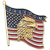 Patriotic Gold Tone Enameled Freedom Bald Eagle United States Flag Lapel Pin, 7/8 Inch