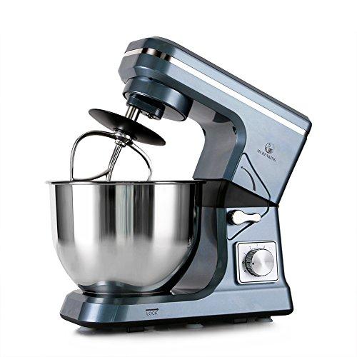 MURENKING Stand Mixer MK36 500W 5-Qt 6-Speed Tilt-Head Kitchen Food Mixer with Accessories (Gray Blue)